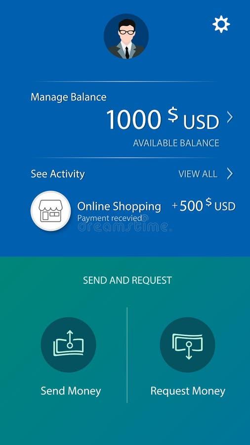 金钱平衡流动app 向量例证
