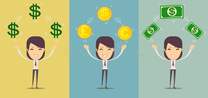 金钱愉快的少妇拿着美元-贷款、储款和抽奖概念 向量例证
