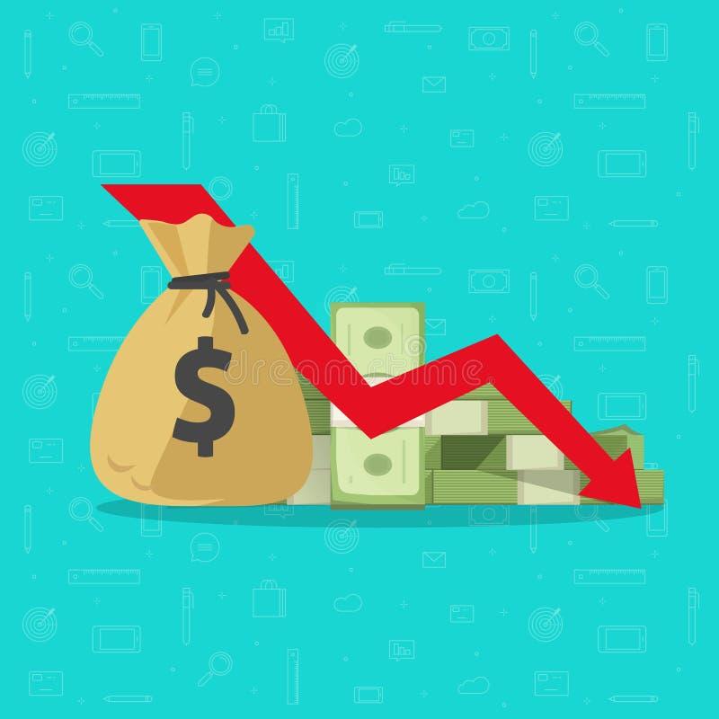 金钱损失传染媒介例证,与下来箭头的平的动画片纸现金库存图表,金融危机,市场秋天 库存例证
