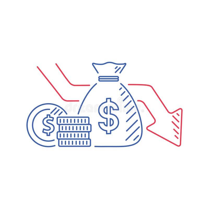 金钱损失在平的动画片现金的传染媒介例证与下来箭头库存图表,金融危机的概念 库存例证