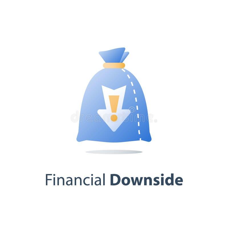 金钱损失,凹下去的花费的概念,缺乏财务,股票市场秋天,投资套利基金,财富贬值,收入减退 皇族释放例证