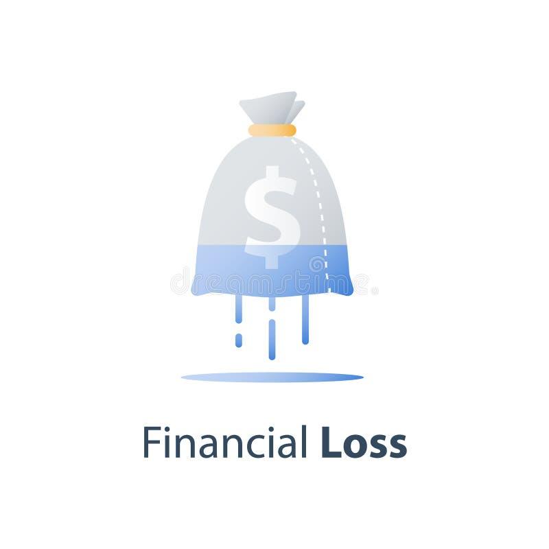 金钱损失,凹下去的花费的概念,缺乏财务,股票市场秋天,投资套利基金,财富贬值,收入减退 向量例证
