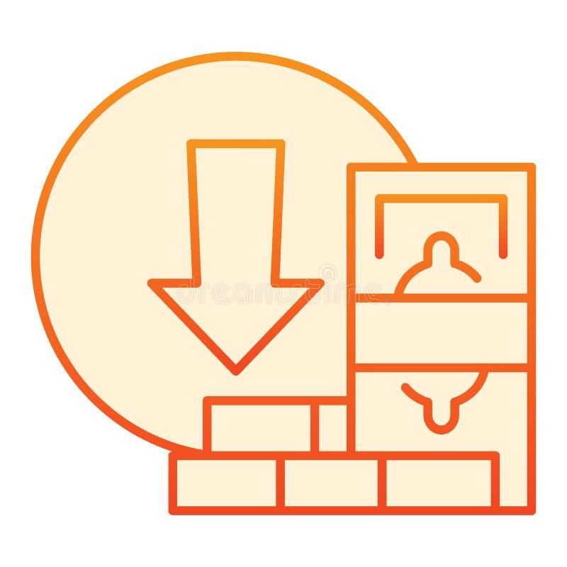 金钱撤出平的象 在时髦平的样式的金钱撤退橙色象 现金和砖梯度样式设计 向量例证