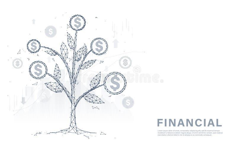 金钱树硬币和金钱 财务管理、增长的赚钱和投资概念 向量例证