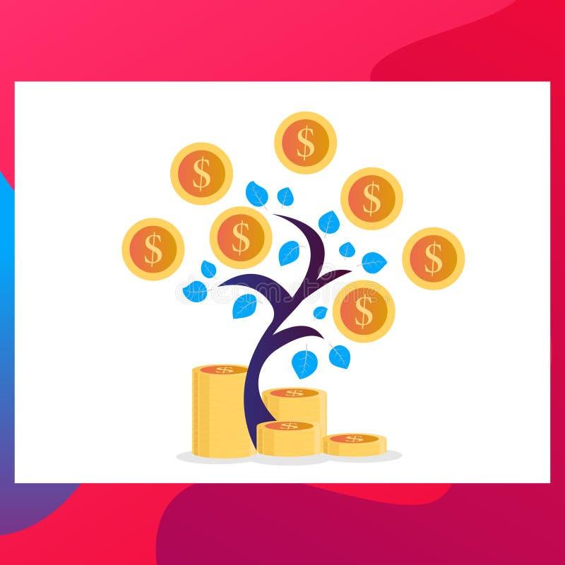 金钱树 硬币金钱 ?? 增长的金钱投资 企业优化 向量例证