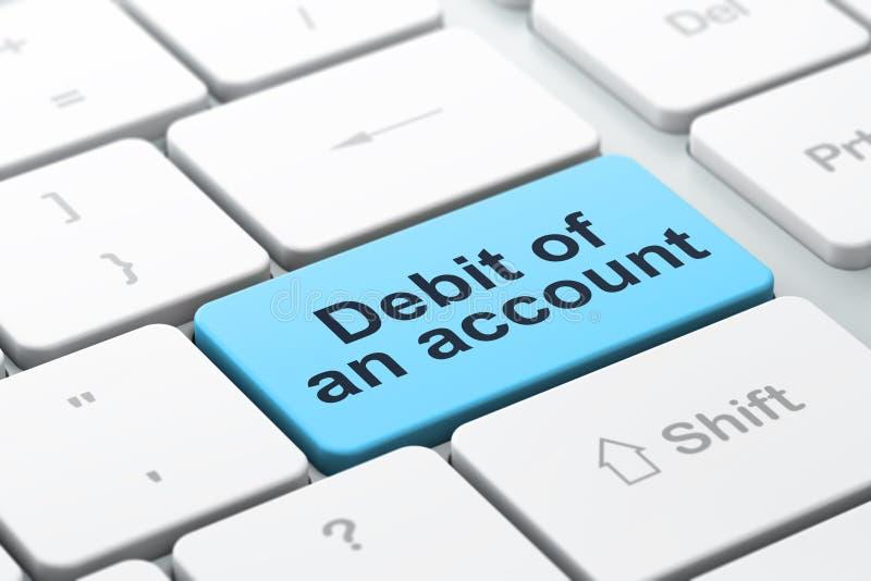 金钱概念:一个帐户的借方在键盘背景的 向量例证