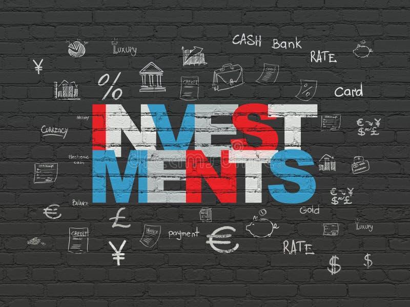 金钱概念:在墙壁背景的投资 向量例证