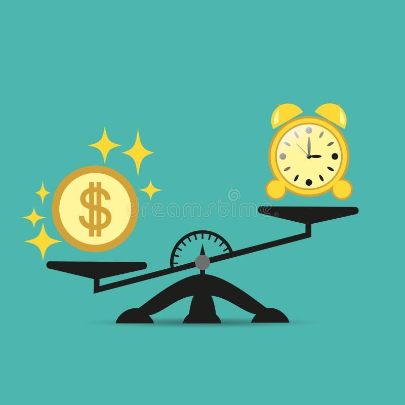 金钱比在等级的时间坚硬 平衡金钱和时间在等级 到达天空的企业概念金黄回归键所有权 也corel凹道例证向量 皇族释放例证