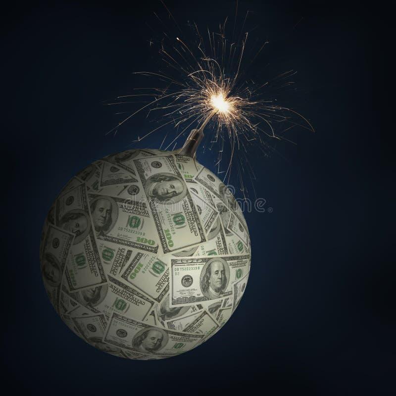 金钱炸弹 库存图片