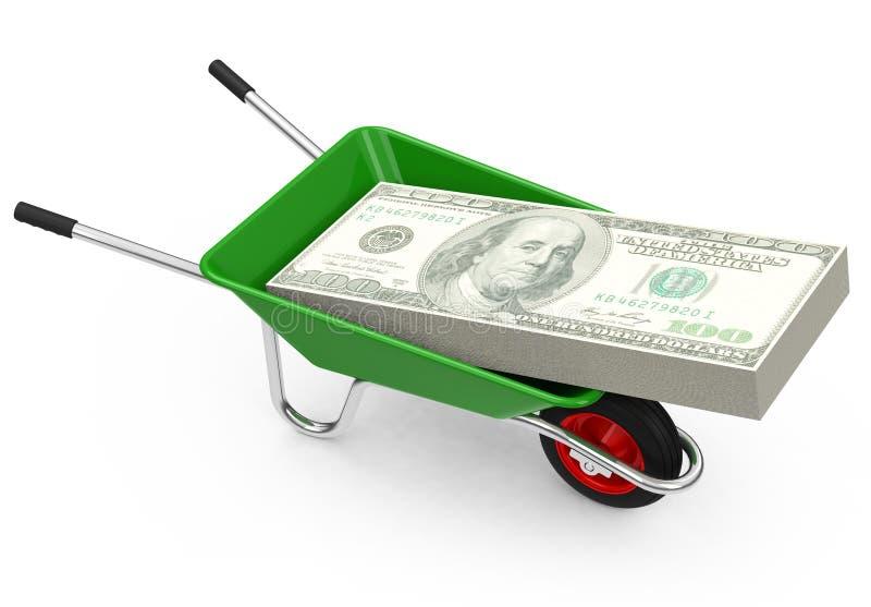 金钱独轮车 向量例证