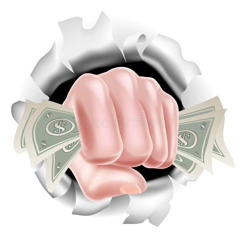 金钱现金拳头猛击的背景 皇族释放例证