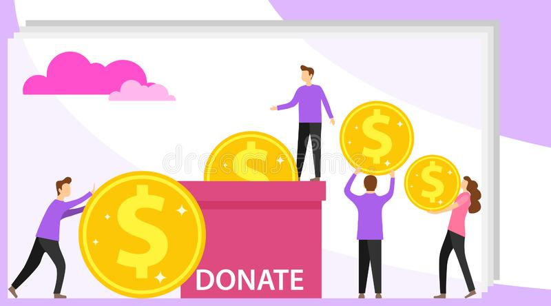 金钱的捐赠 微型人民捐赠金钱到箱子 小组捐款人给金钱 能为网横幅,infographics使用 皇族释放例证