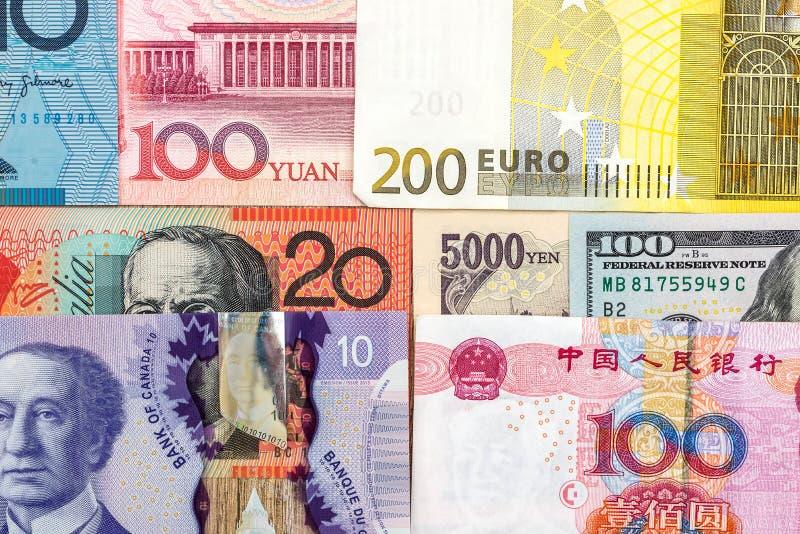 金钱的汇集从附近不同的国家的 免版税库存照片