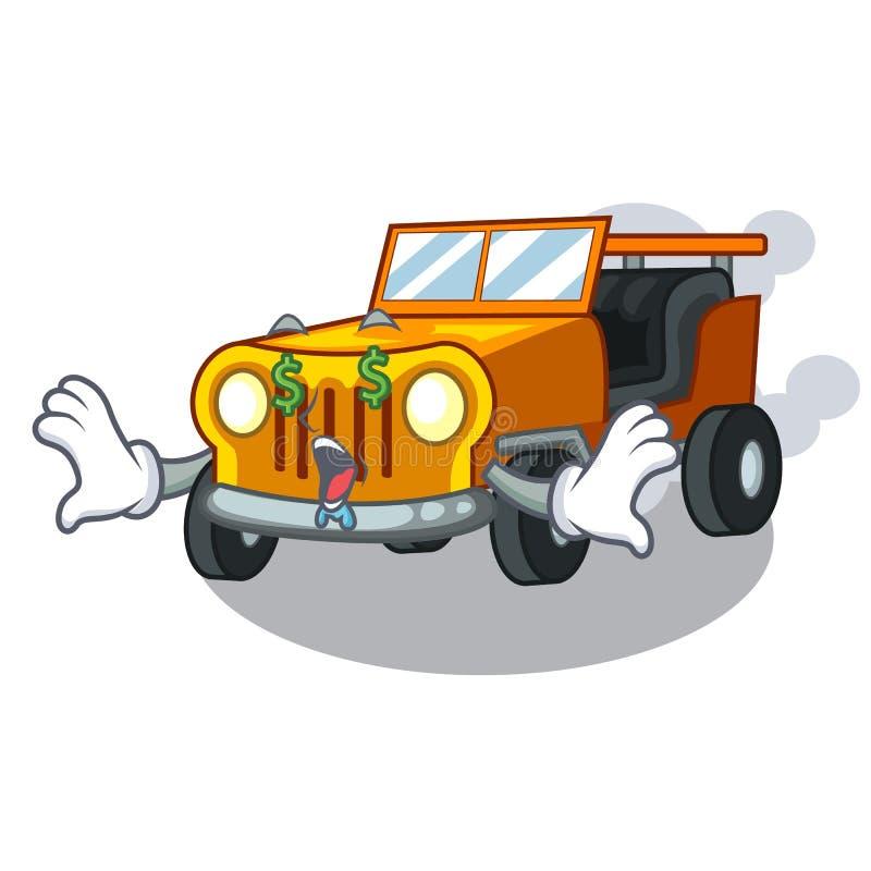 金钱眼睛吉普在前面赦免的动画片汽车 向量例证