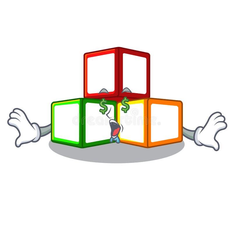 金钱眼睛在立方体箱子吉祥人的玩具块 皇族释放例证
