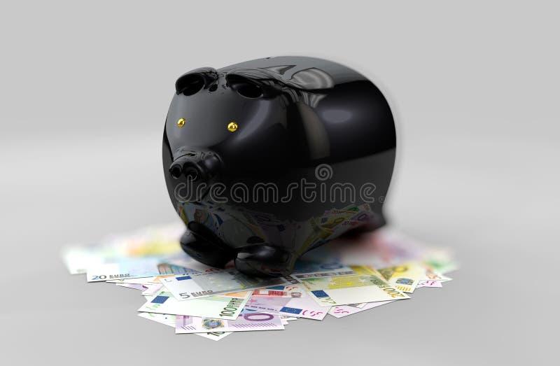 金钱硬币黑存钱罐的例证被隔绝在blured灰色背景 皇族释放例证