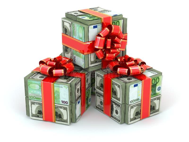 金钱礼物。盒美元和欧洲和红色丝带。 向量例证