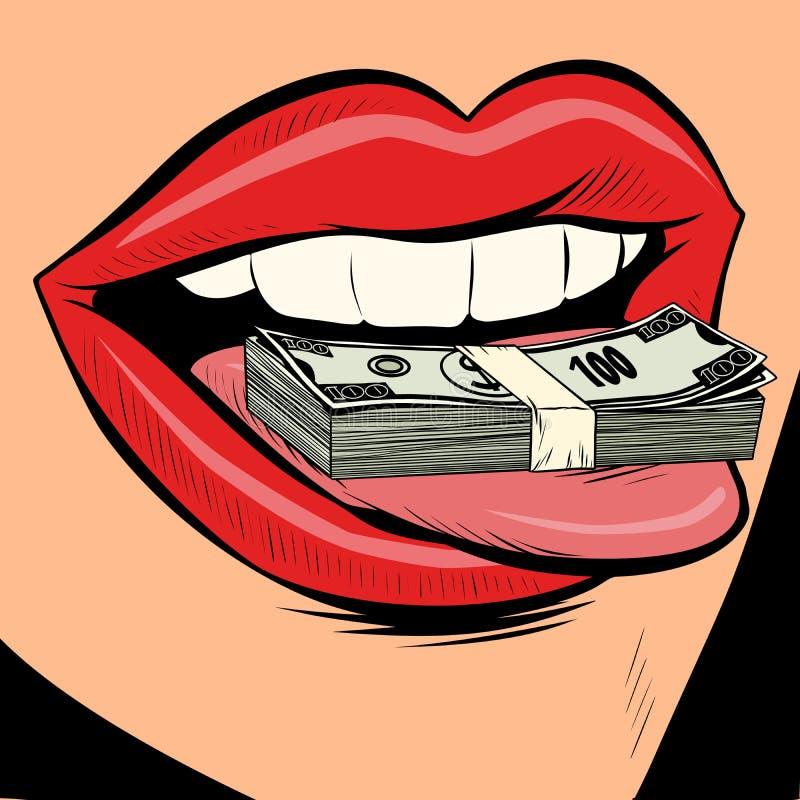 金钱美元女性舌头嘴 向量例证