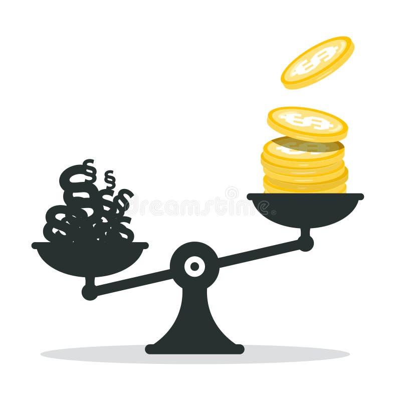 金钱美元硬币和段在等级 皇族释放例证