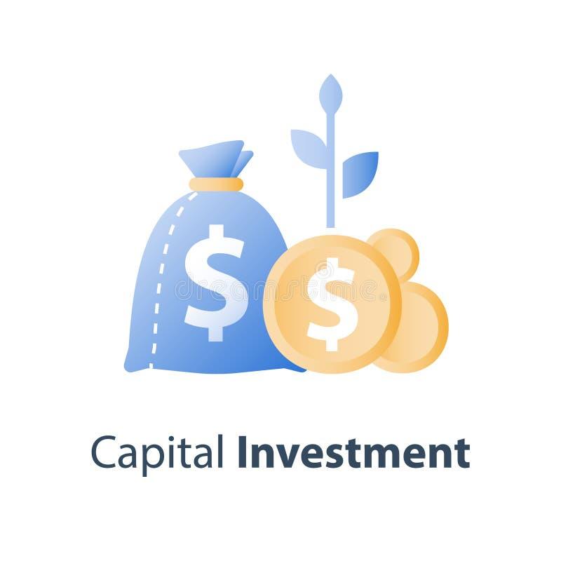 金钱袋子和硬币与植物词根,投资基金,退休金储蓄账户,养老金,资本分派 库存例证
