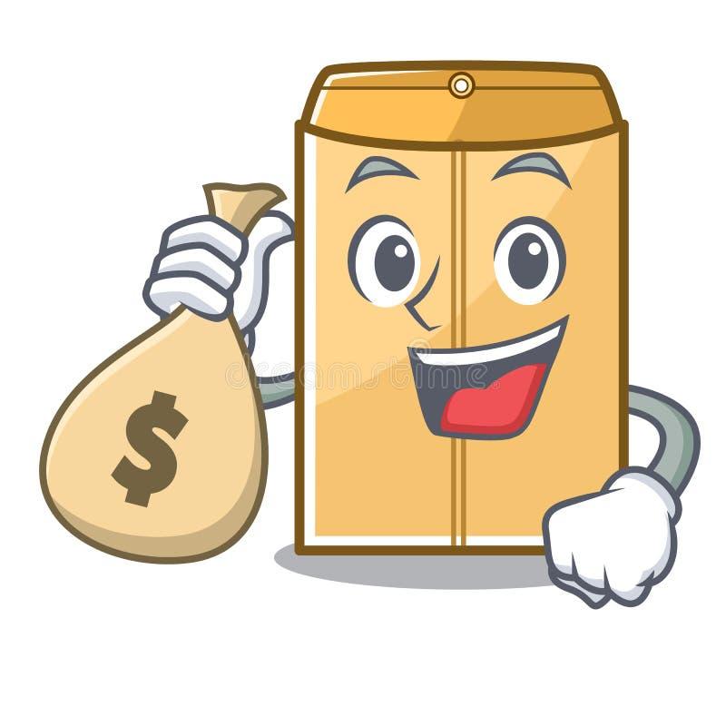 金钱袋子在字符形状的邮件信封 库存例证