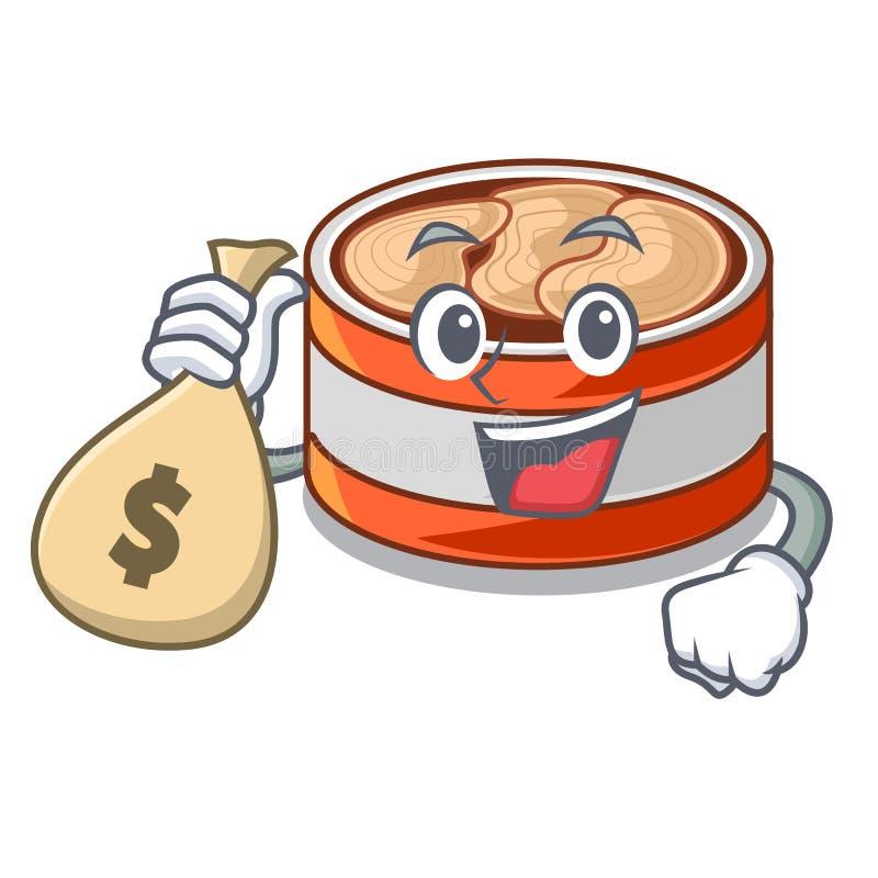 金钱袋子装金枪鱼于罐中隔绝与在吉祥人 向量例证