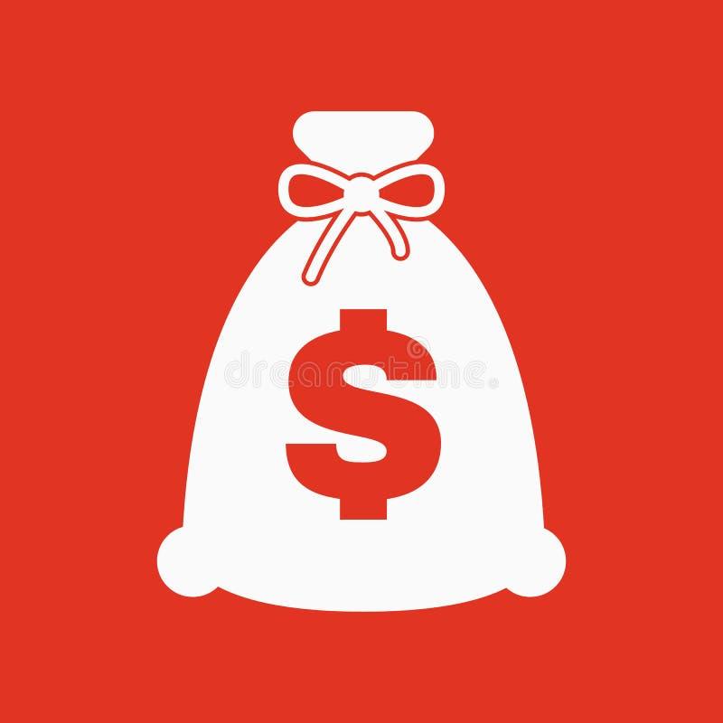 金钱袋子象 现金和金钱,财富,付款标志 平面 库存例证