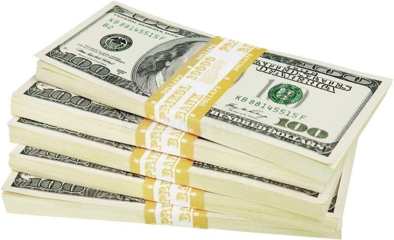 金钱被隔绝的堆 免版税库存图片
