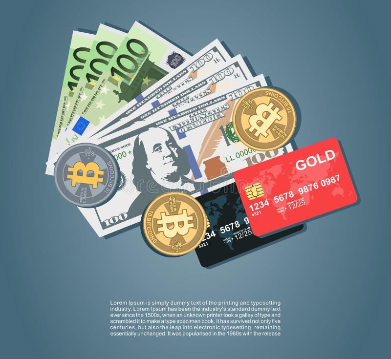 金钱设置与美元欧元bitcoins 皇族释放例证