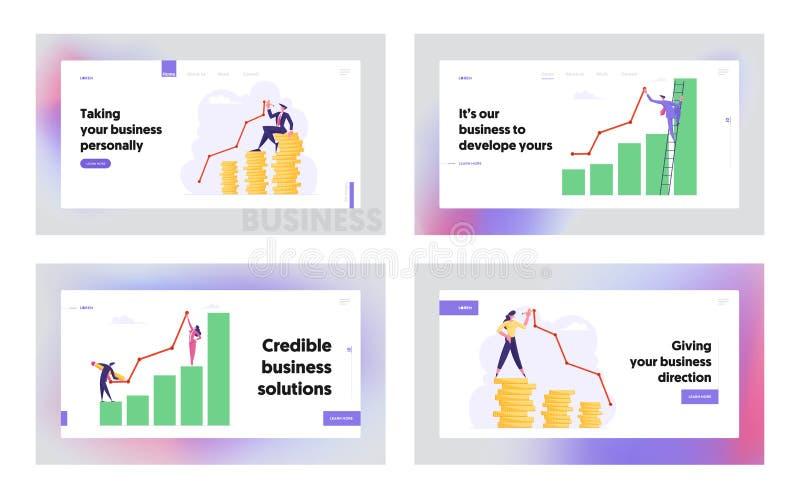 金钱财富图,成长数据分析箭头图表概念,网站着陆页集合,财政赢利 皇族释放例证
