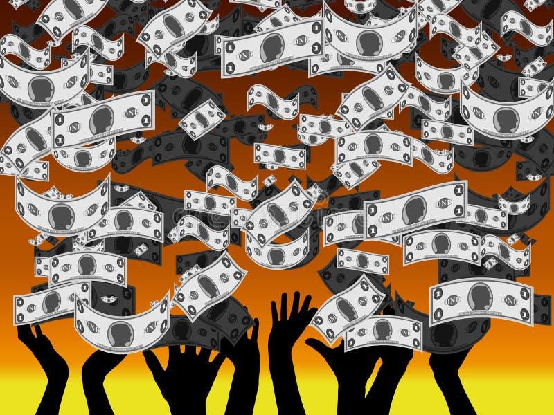 金钱雨-捉住美元的人民的手落从天空 库存例证