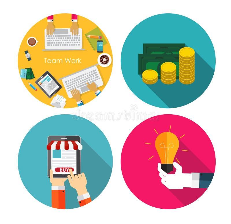 金钱,队工作,想法,平的OnlineShopping 库存例证