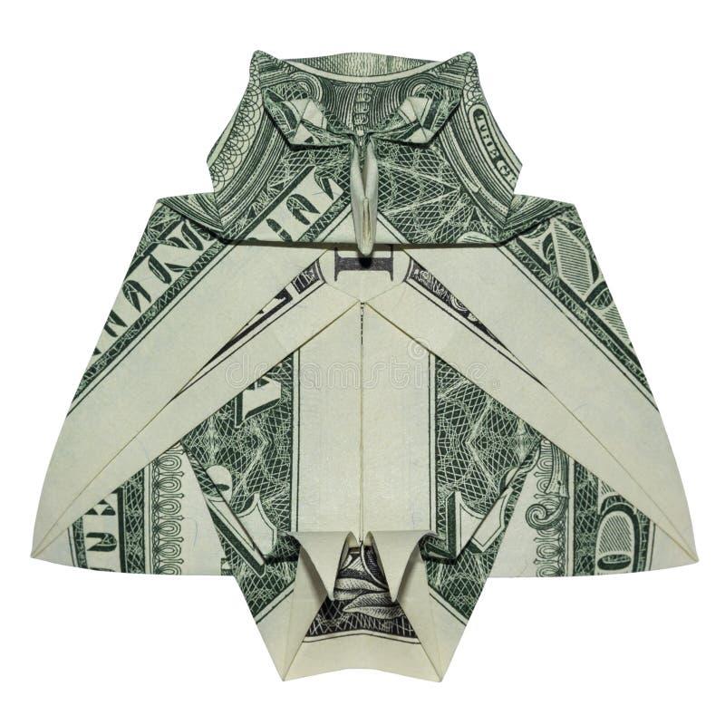 金钱Origami伟大的明智的猫头鹰鸟折叠了有真正的一美金白色背景 库存照片
