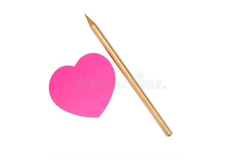 金铅笔粉红色贴纸 图库摄影