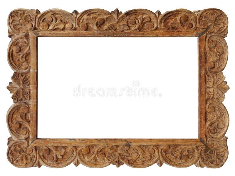 金银细丝工的木画框 免版税库存照片