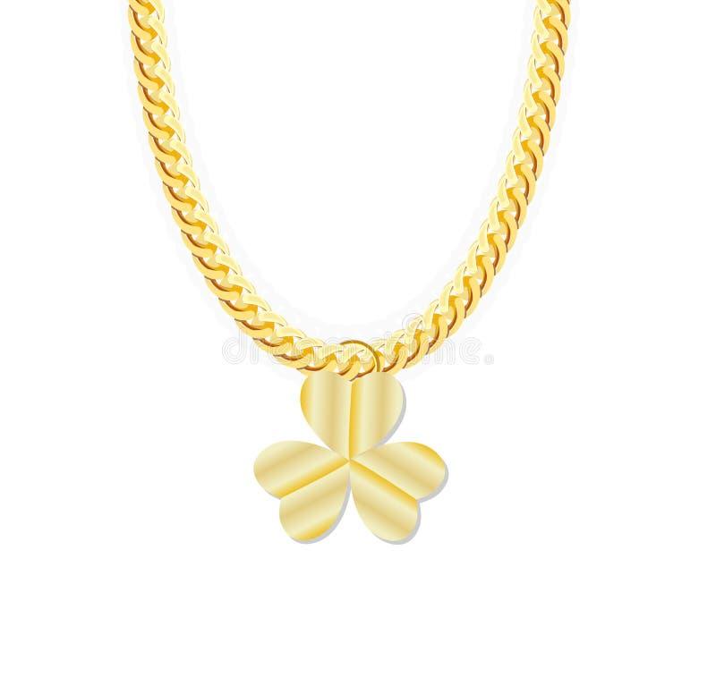 金链首饰whith三叶子三叶草 向量 向量例证