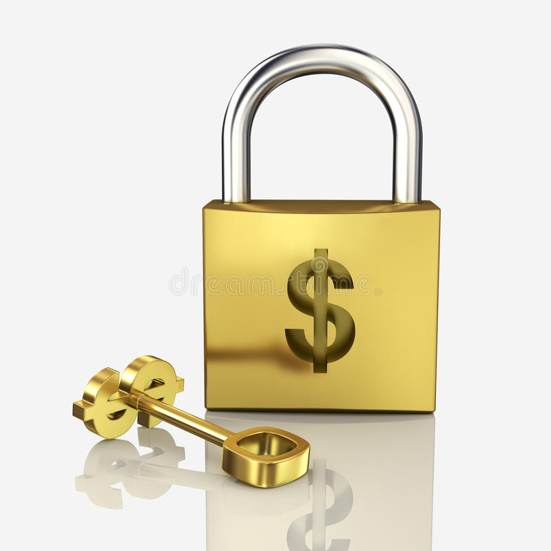 金锁 向量例证