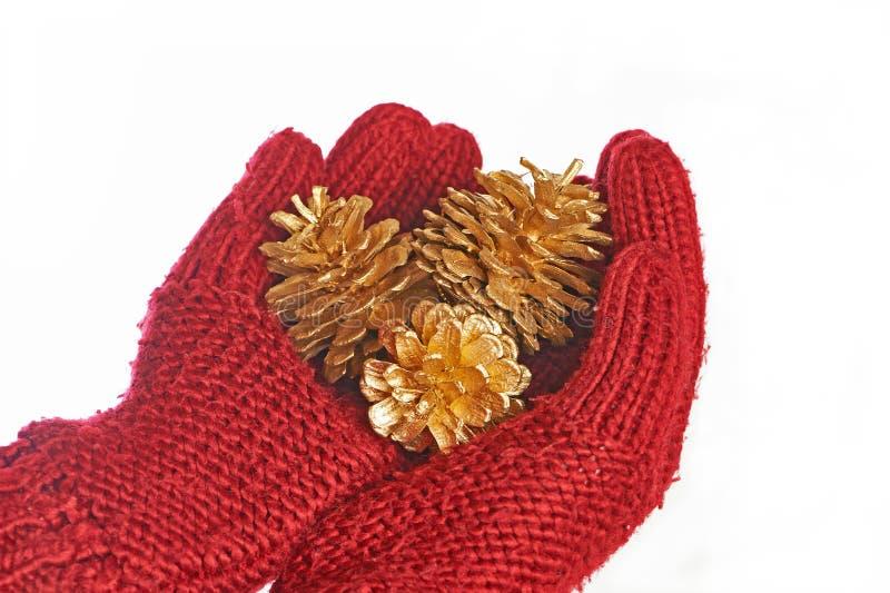 金锥体在红色手套的手上 免版税图库摄影