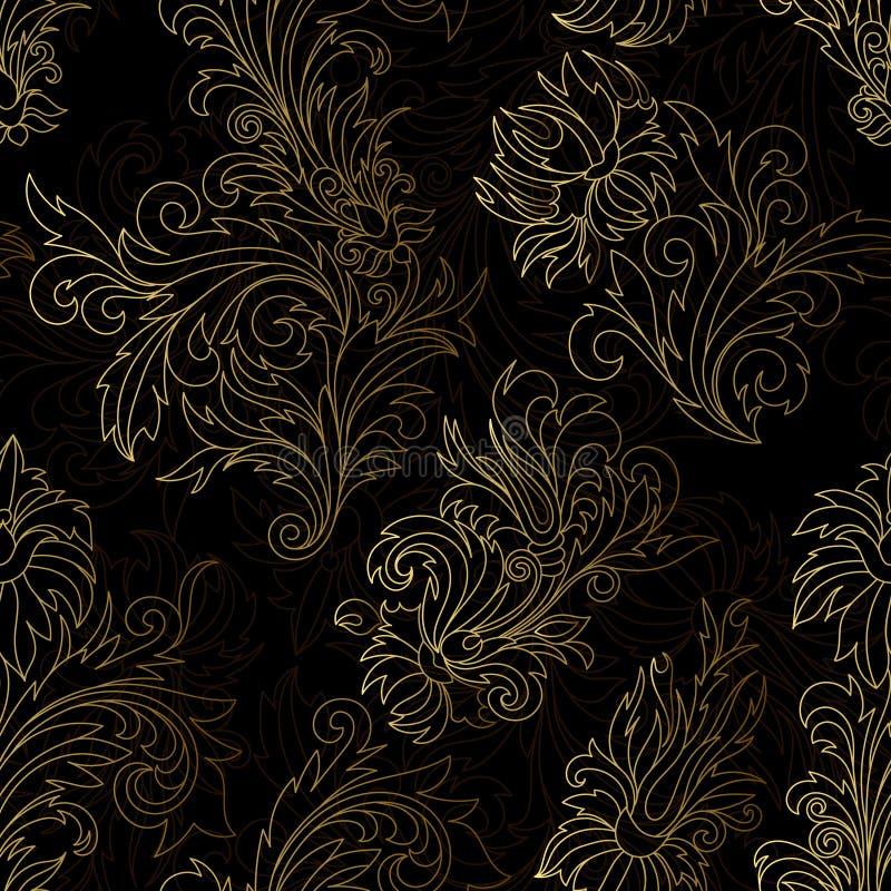 金锦缎装饰无缝 向量例证