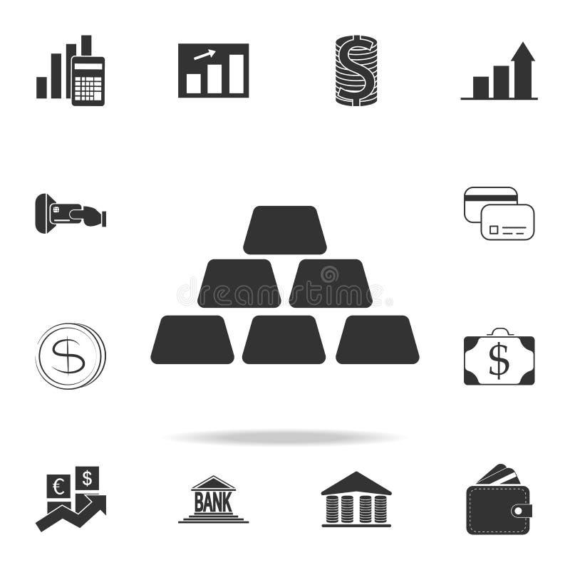 金锭,金制马上的齿龈象 详细的套财务、银行业务和赢利元素象 优质质量图形设计 一  库存例证