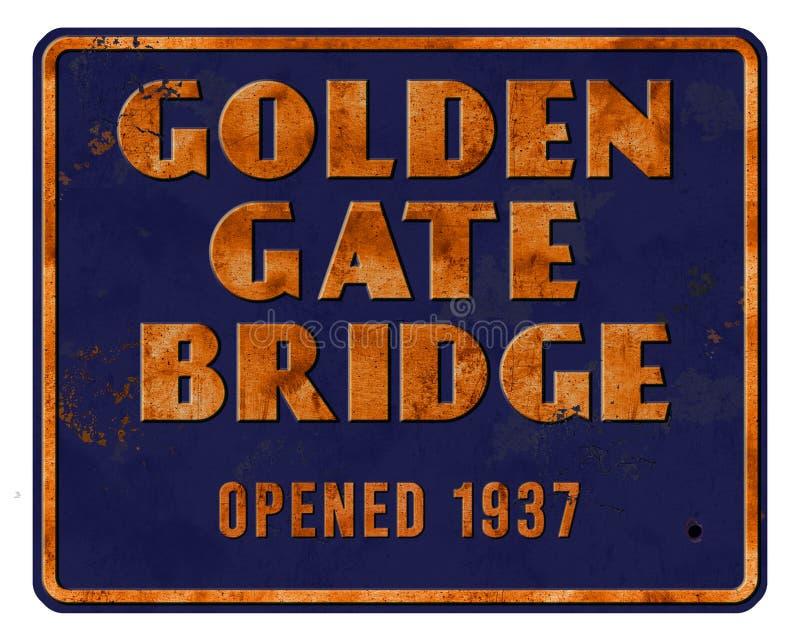金门大桥减速火箭的葡萄酒标志打开了1937年旧金山地标 库存照片