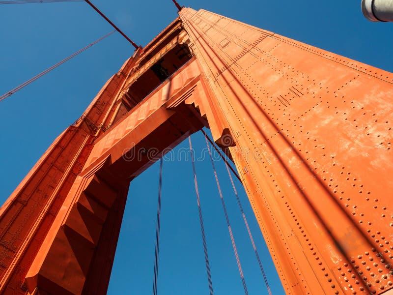 金门大桥柱子在旧金山,加利福尼亚 图库摄影