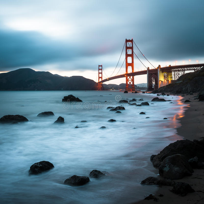 金门大桥,著名地标在旧金山加利福尼亚 免版税库存照片