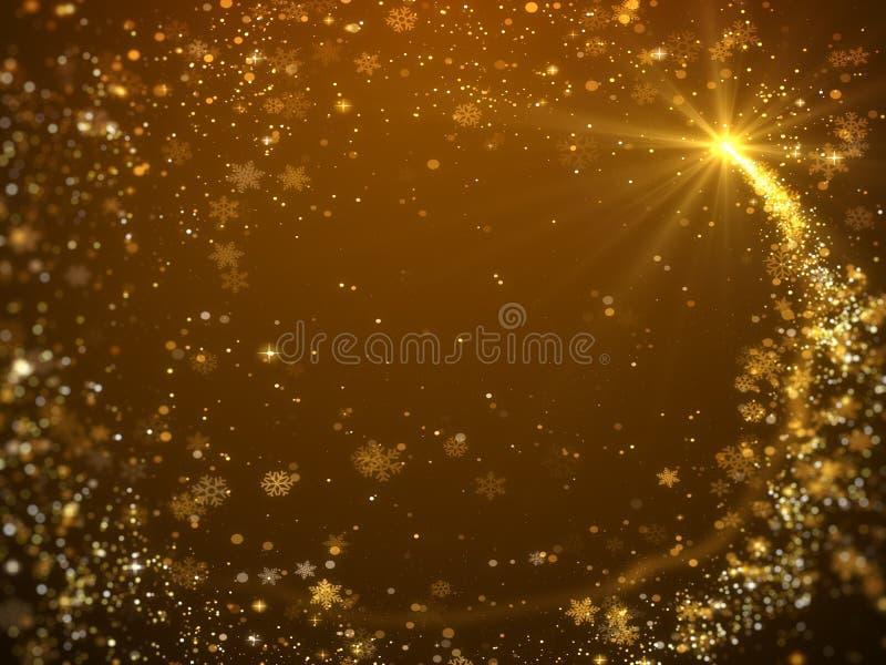 金闪烁的雪花和bokeh圣诞节背景 向量例证