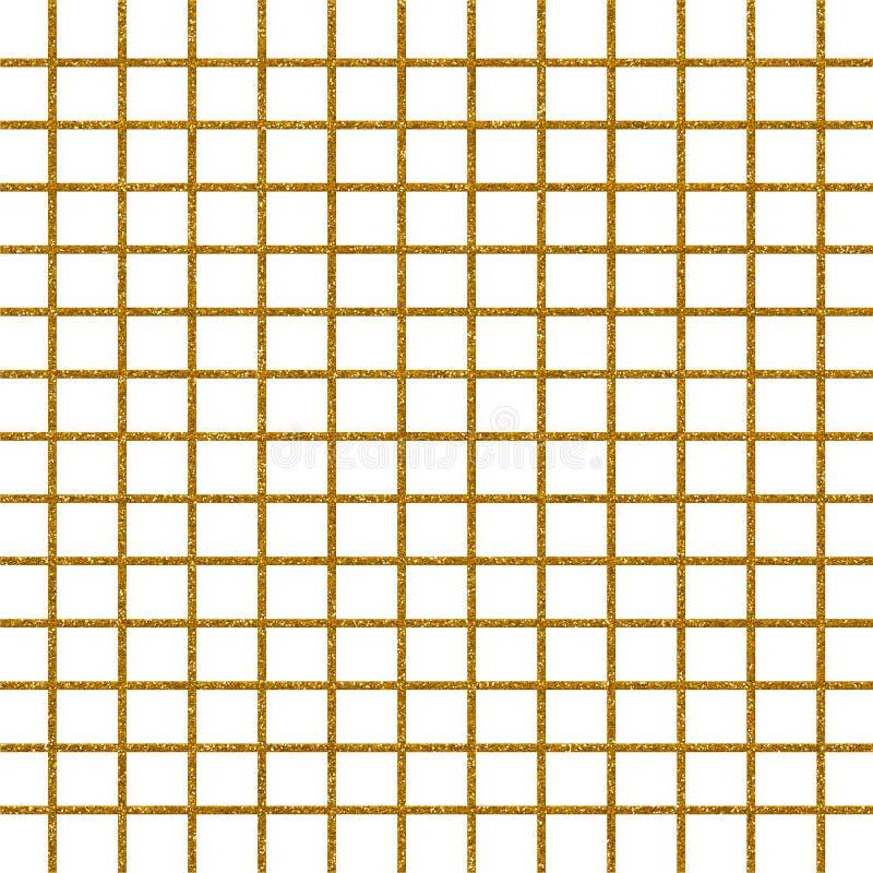 金闪烁被检查的几何样式纸 向量例证