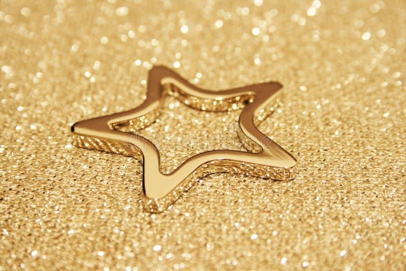金闪耀的星形 免版税库存照片