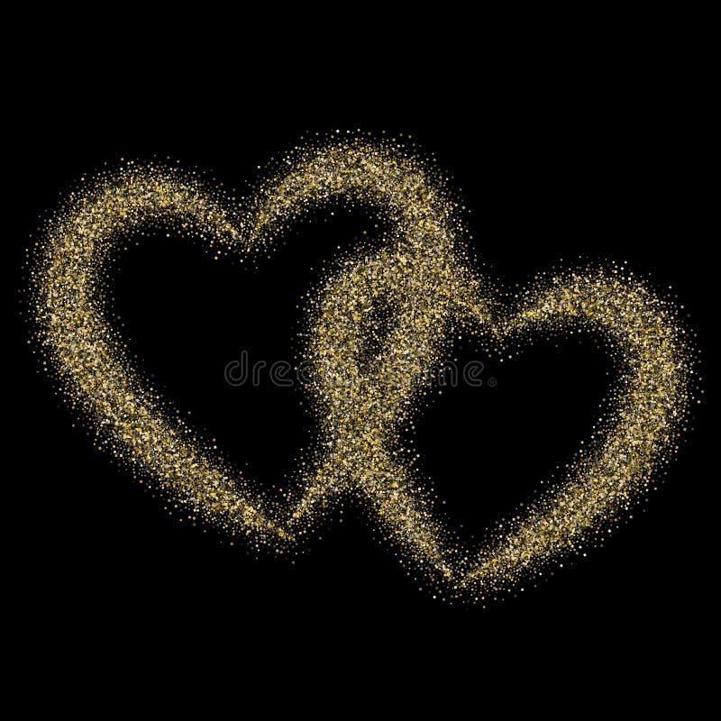 金闪闪发光闪烁尘土金属五彩纸屑心脏传染媒介背景 向量例证