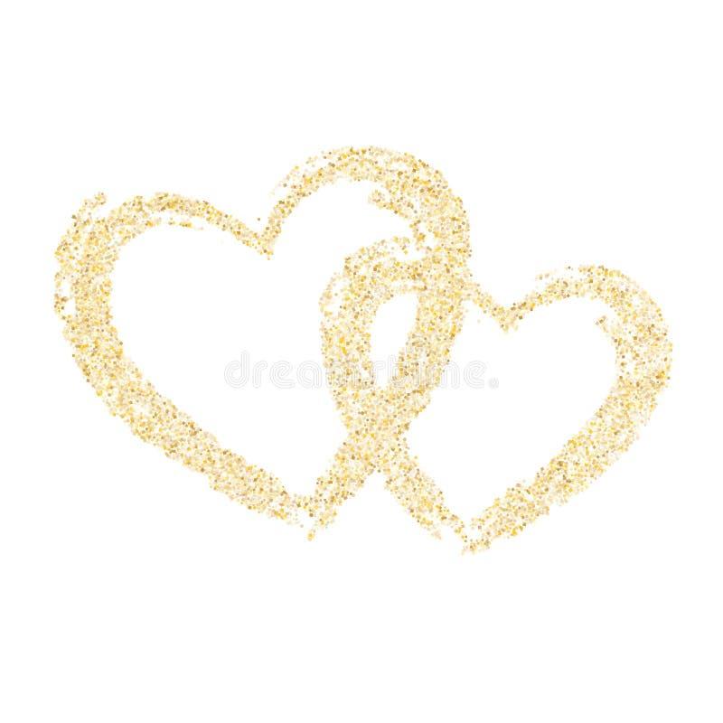 金闪闪发光闪烁尘土金属五彩纸屑心脏传染媒介背景 皇族释放例证