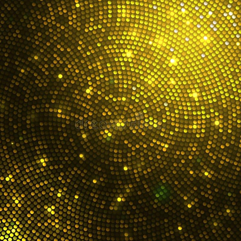 金闪闪发光闪烁衣服饰物之小金属片马赛克背景 向量例证