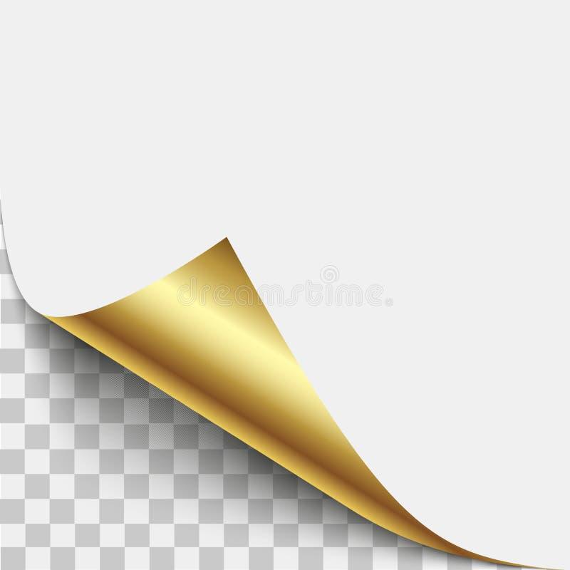 金页角落果皮 与阴影的金页卷曲的折叠 被折叠的稠粘的纸笔记空白纸  传染媒介例证贴纸小便 库存例证